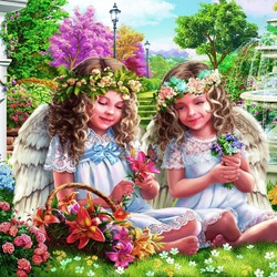 Jigsaw puzzle: Angels in the garden