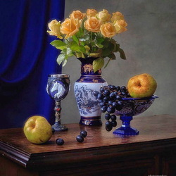 Jigsaw puzzle: Roses and fruits