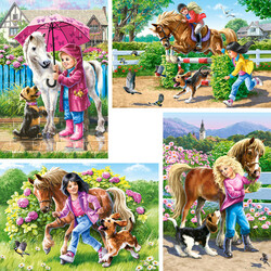 Jigsaw puzzle: Girls with horses