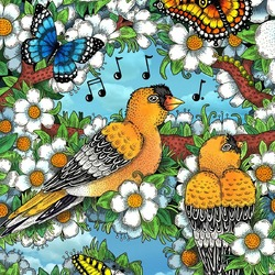 Jigsaw puzzle: Yellow birds in plum flowers