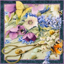 Jigsaw puzzle: Flowers and butterflies