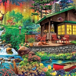 Jigsaw puzzle: Shed in a woods
