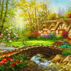 Jigsaw puzzle: Forest house