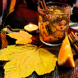 Jigsaw puzzle: A glass of tea in a cold fall