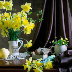 Jigsaw puzzle: Lemons and daffodils