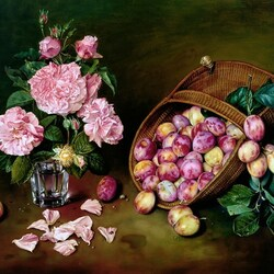 Jigsaw puzzle: Still life with plums and roses