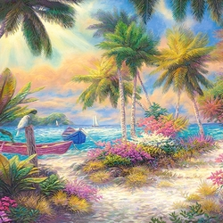 Jigsaw puzzle: Sea, palm trees and sand