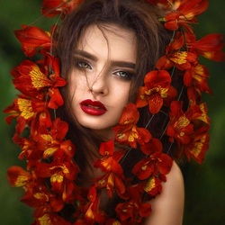 Jigsaw puzzle: Flowers in hair