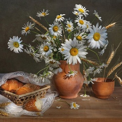 Jigsaw puzzle: Chamomile and buns