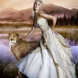 Jigsaw puzzle: Girl with cheetah