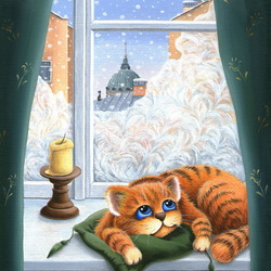 Jigsaw puzzle: The cat is lying on the window