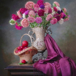 Jigsaw puzzle: Still life with a bouquet of asters and a Japanese plum