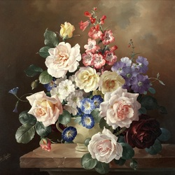 Jigsaw puzzle: Bouquet in a ceramic vase