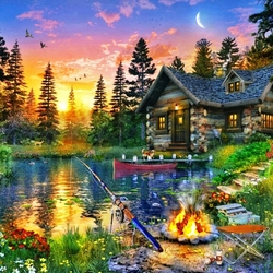 Jigsaw puzzle: Evening fishing