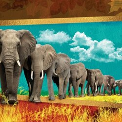 Jigsaw puzzle: Row of elephants