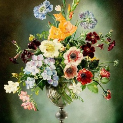 Jigsaw puzzle: Bouquet in a glass vase