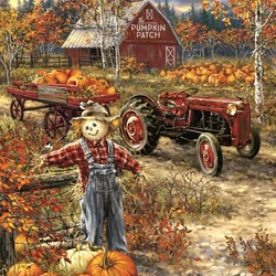 Jigsaw puzzle: Scarecrow in pumpkins