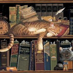Jigsaw puzzle: Cats and books