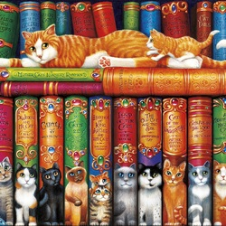 Jigsaw puzzle: Cat library