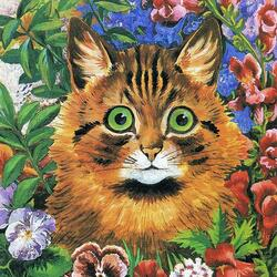 Jigsaw puzzle: Kitten in flowers