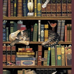 Jigsaw puzzle: Cats in the library