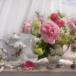 Jigsaw puzzle: Pink bouquet as a keepsake of summer