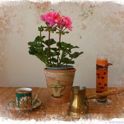 Jigsaw puzzle: About geranium and coffee