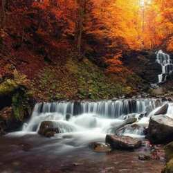 Jigsaw puzzle: Small waterfall in the mountains