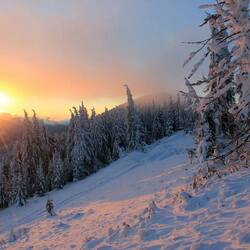 Jigsaw puzzle: Winter sunset in the Carpathians