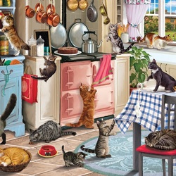 Jigsaw puzzle: Cats in the kitchen