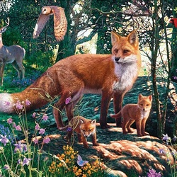 Jigsaw puzzle: Foxes in the forest