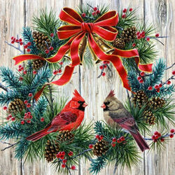 Jigsaw puzzle: Cardinals in a wreath