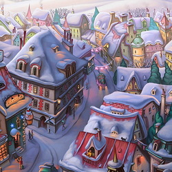 Jigsaw puzzle: New Year's town