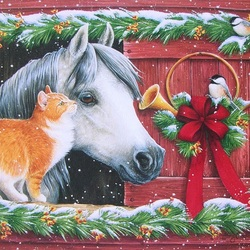 Jigsaw puzzle: Cat and horse