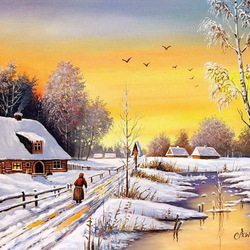 Jigsaw puzzle: Winter in the village