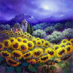 Jigsaw puzzle: Night with sunflowers