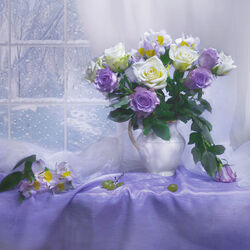 Jigsaw puzzle: Morning window, winter and roses