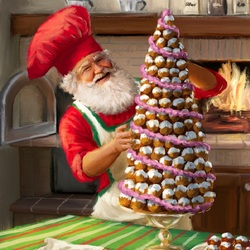 Jigsaw puzzle: Christmas tree from eclairs