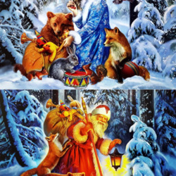 Jigsaw puzzle: Snow Maiden and Santa Claus