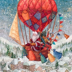 Jigsaw puzzle: Santa Claus in a hot air balloon