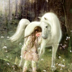 Jigsaw puzzle: Girl and white horse