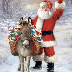 Jigsaw puzzle: Santa with a donkey