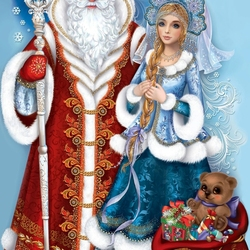 Jigsaw puzzle: Ded Moroz and Snegurochka