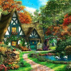 Jigsaw puzzle: Autumn cottage