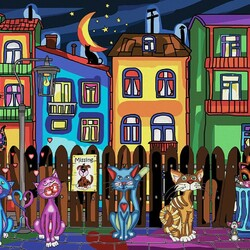 Jigsaw puzzle: Cat night