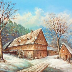 Jigsaw puzzle: Old mill in winter