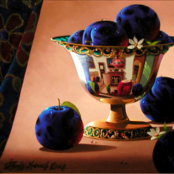 Jigsaw puzzle: Plums in a silver vase