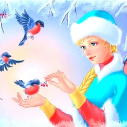 Jigsaw puzzle: Bullfinches and Snow Maiden