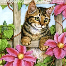 Jigsaw puzzle: Kitten and clematis