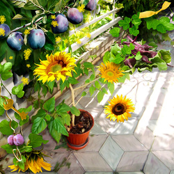 Jigsaw puzzle: Sunflowers and plums